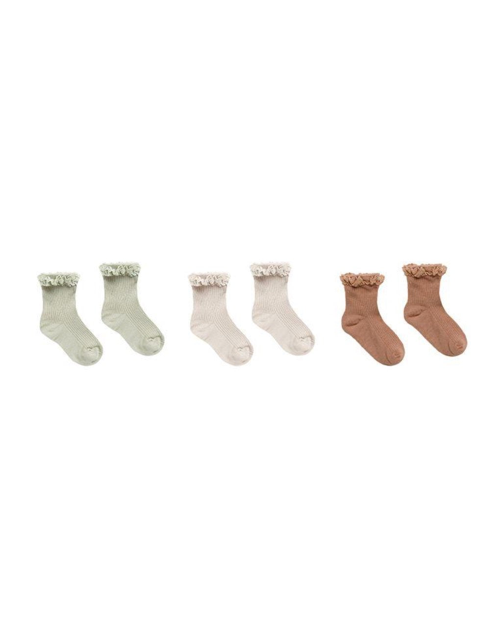 Rylee & Cru Lace Trim Socks Set of 3 in Sage-Shell-Terracotta
