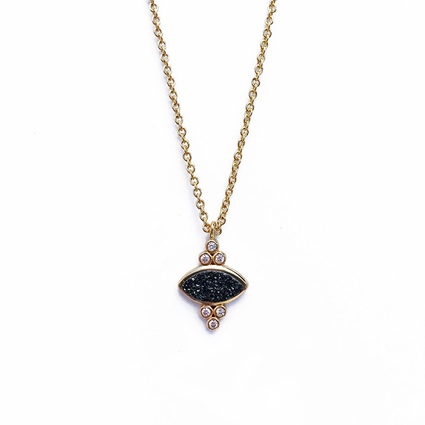 Elizabeth Stone Gemstone Eye Pendant in Black Druzy | Sweet Threads
