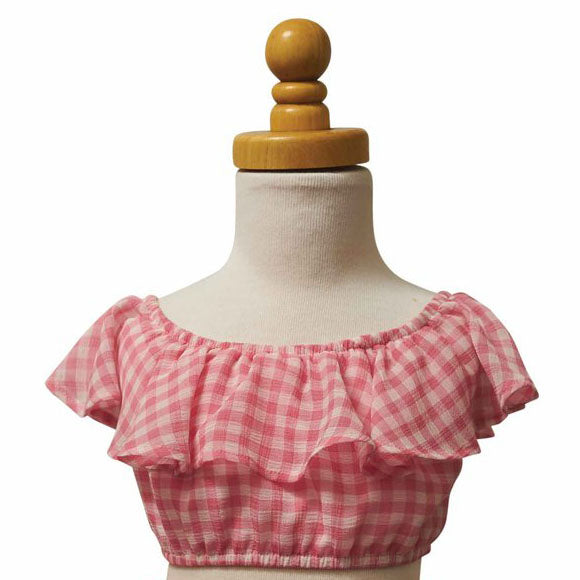 Paush Flouncy Crop Top in Pink Gingham | Sweet Threads