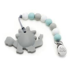 Loulou Lollipop Dino Silicone Teether w/ Holder Set in Grey | Sweet Threads