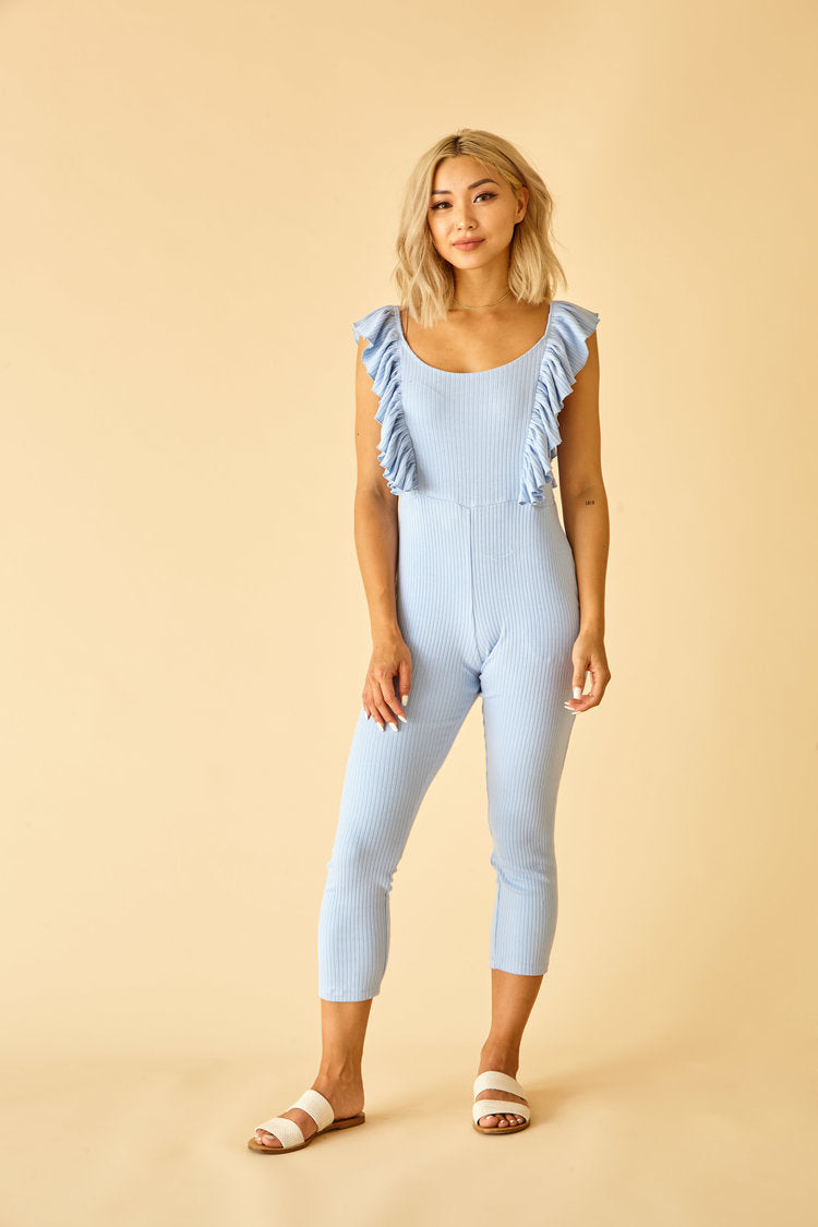 Sun Peony Coconut Ribbed Knit Jumpsuit in Blue | Sweet Threads