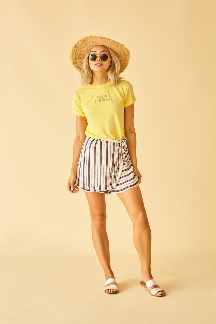 Sun Peony Coconut Palm Spring Tee in Lemon (ADULT) | Sweet Threads