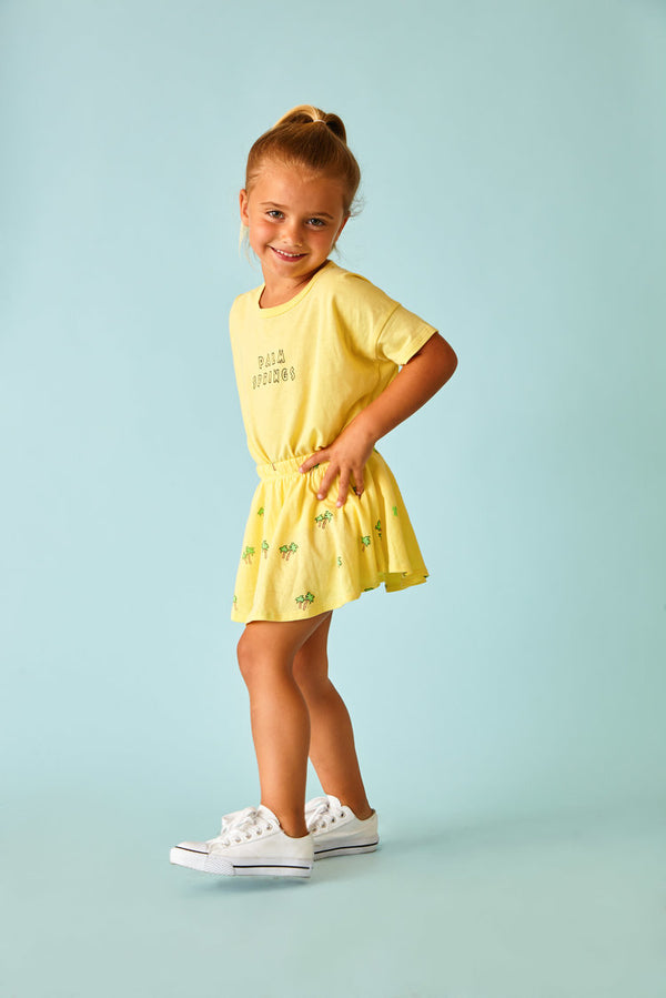 Sun Peony Coconut Palm Spring Mini Tee in Lemon | Sweet Threads