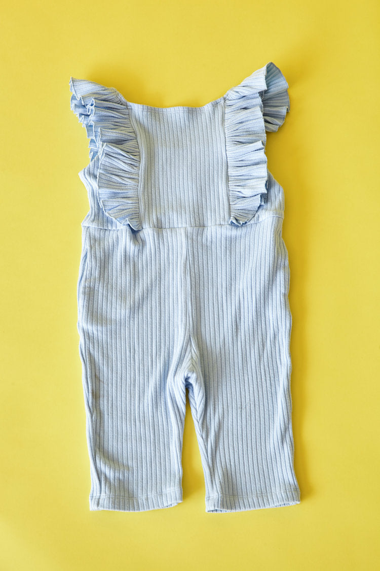 Sun Peony Coconut Belle Ribbed Knit Jumpsuit in Blue | Sweet Threads