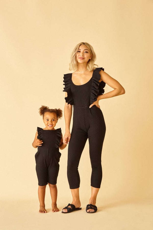 Sun Peony Coconut Ribbed Knit Jumpsuit in Black (ADULT) | Sweet Threads