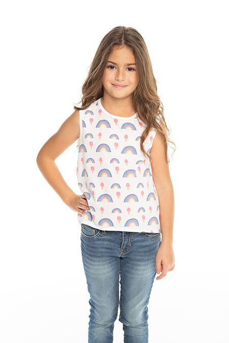 Chaser Rainbow Ice Cream Flouncy Tank in White | Sweet Threads