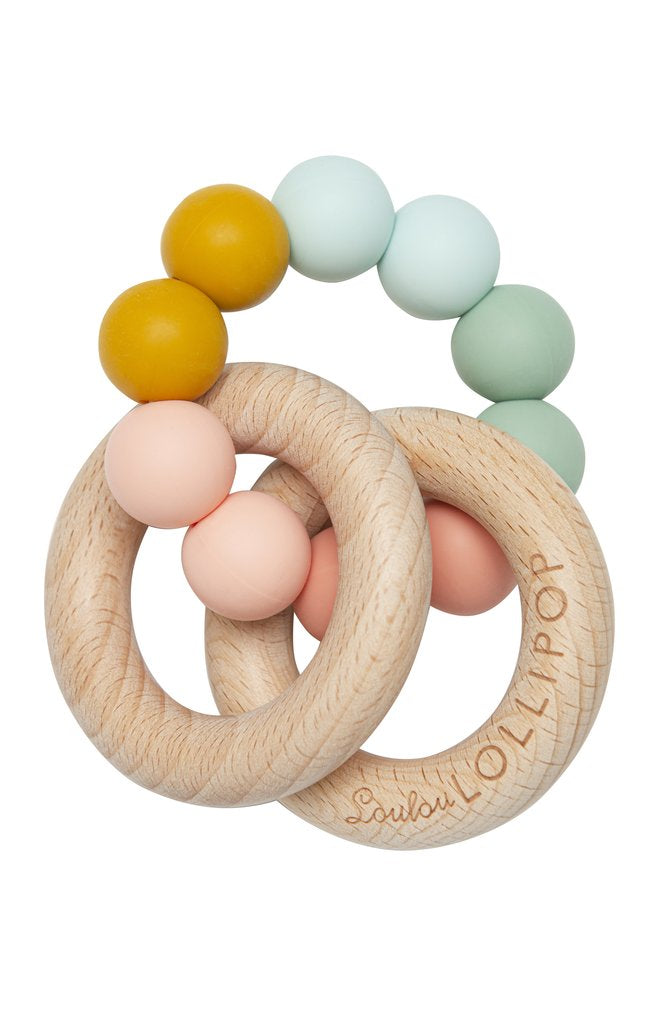Loulou Lollipop Bubble Wood & Silicone Teether in Rainbow
