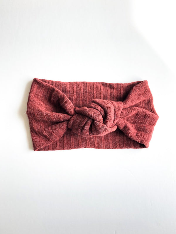 Camden & Friends Turban Headband in Rosewood Ribbed
