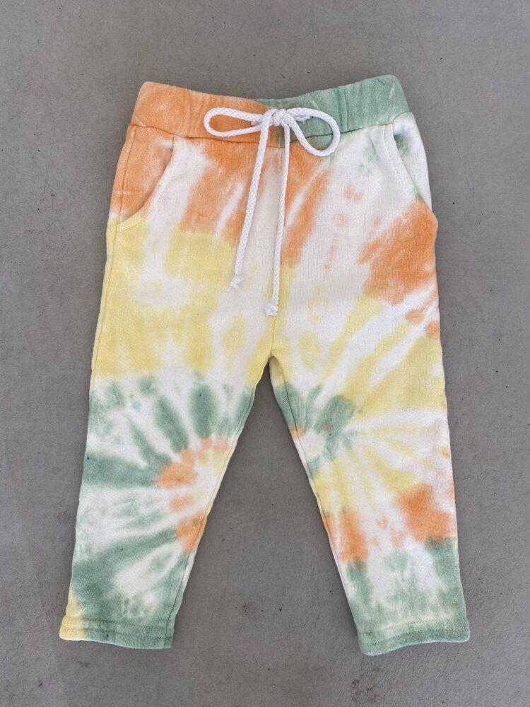 Sun Peony Coconut Sunday Unisex Sweatpants in Peach/Lime | Sweet Threads