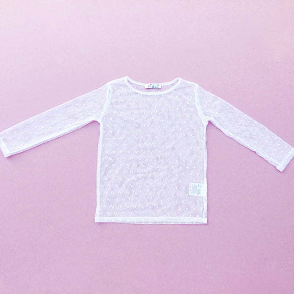 Paush Longsleeve Mesh Top in White | Sweet Threads