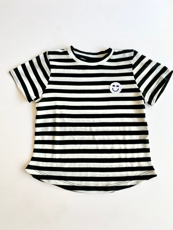 Miles and Milan Signature Patch Black and White Stripe Tee
