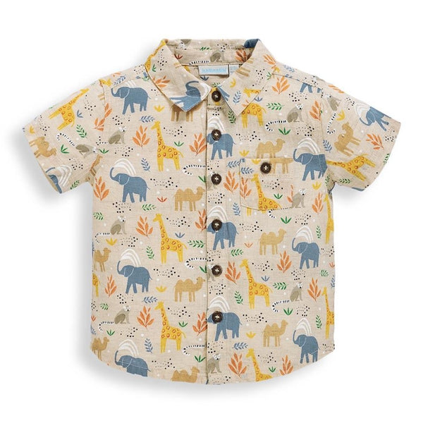 Jojo Maman Bebe Safari Print Shirt in Stone