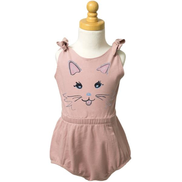 Paush Kitten Face Tie Romper in Silver Pink | Sweet Threads
