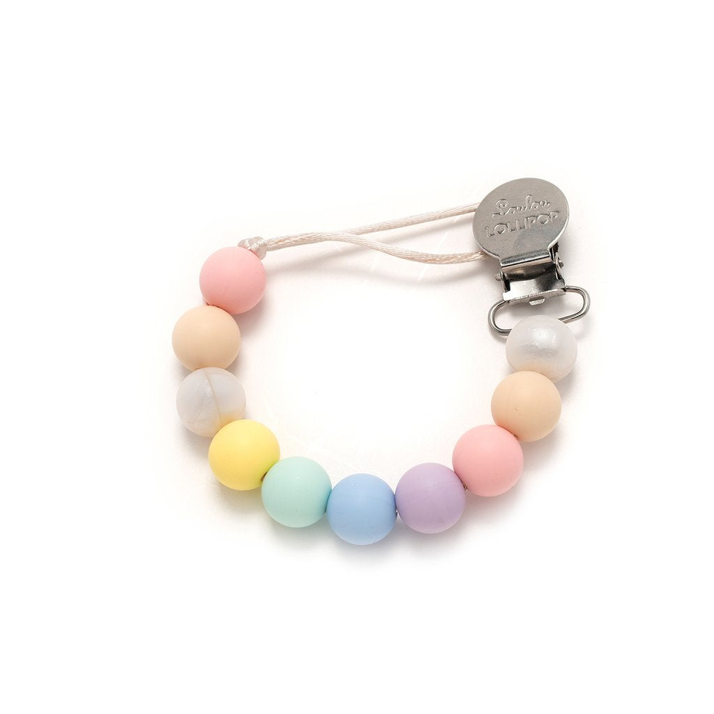 Loulou Lollipop Colour Block Silicon & Wood Pacifier Clip in Cotton Candy