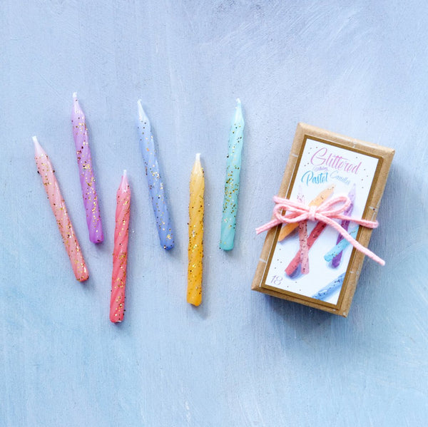 Glitterville Pastel Glittered Birthday Candles | Sweet Threads