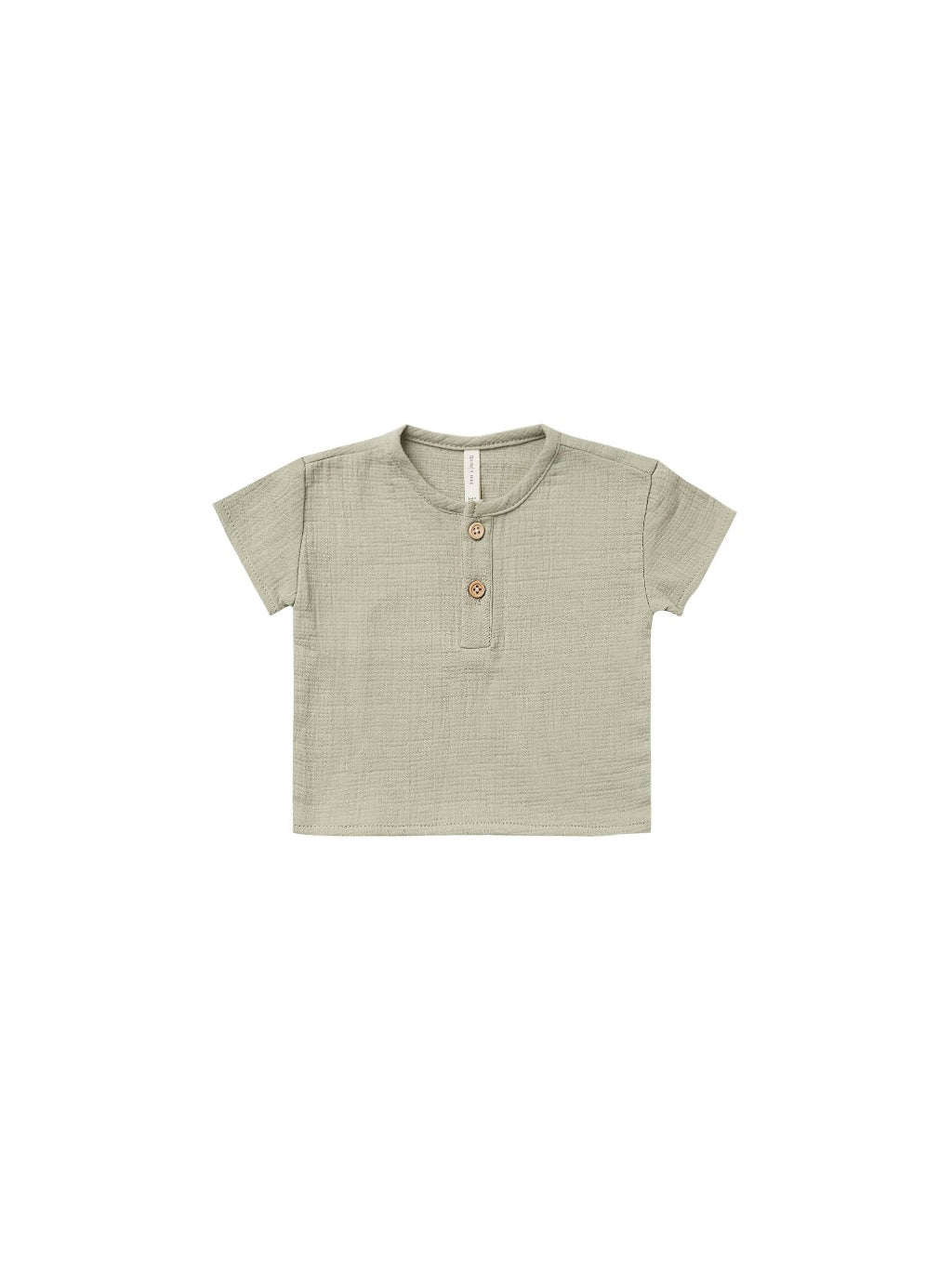 Quincy Mae Woven Henry Top in Sage