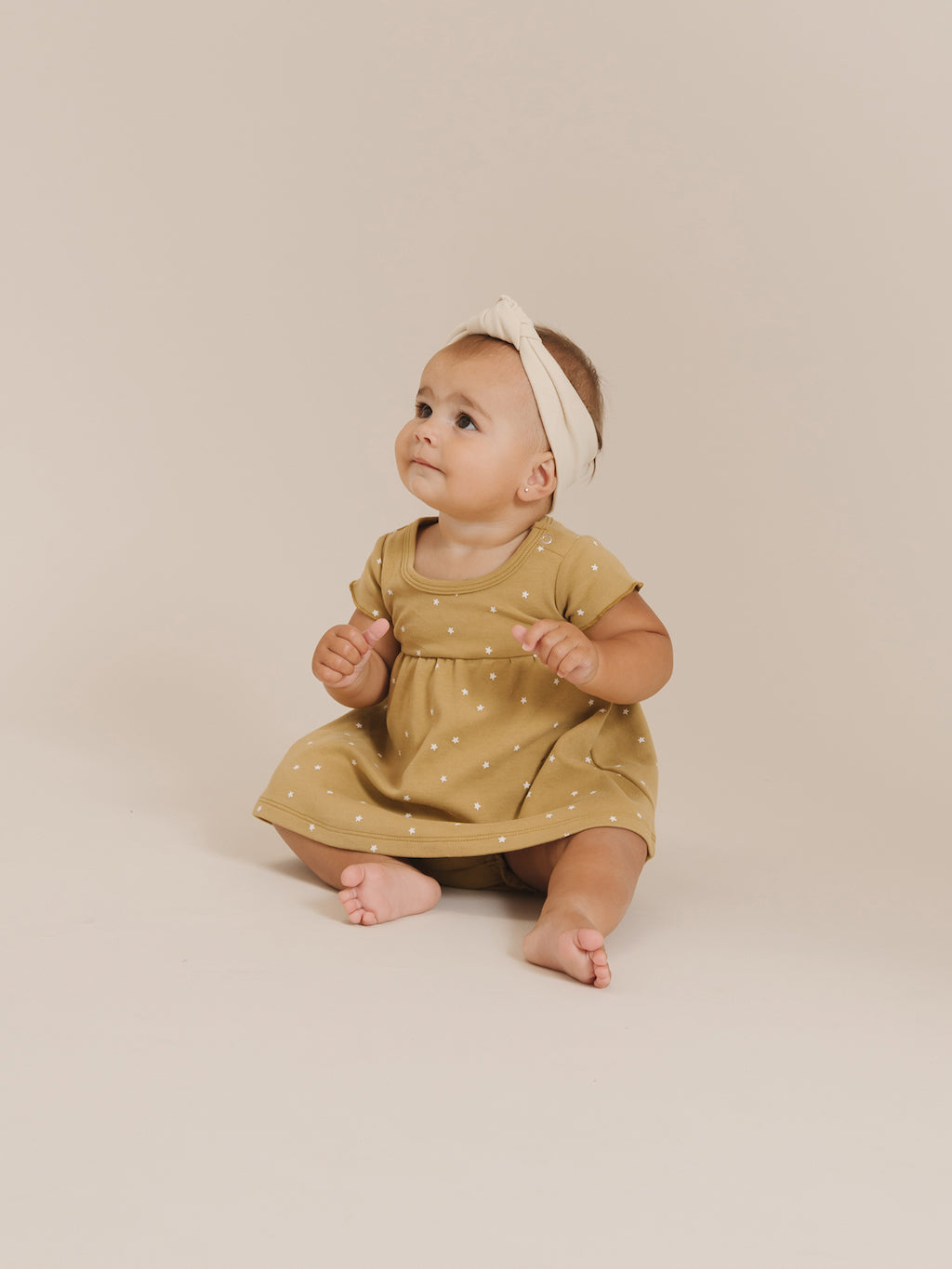 Quincy Mae Short Sleeve baby Dress in Gold