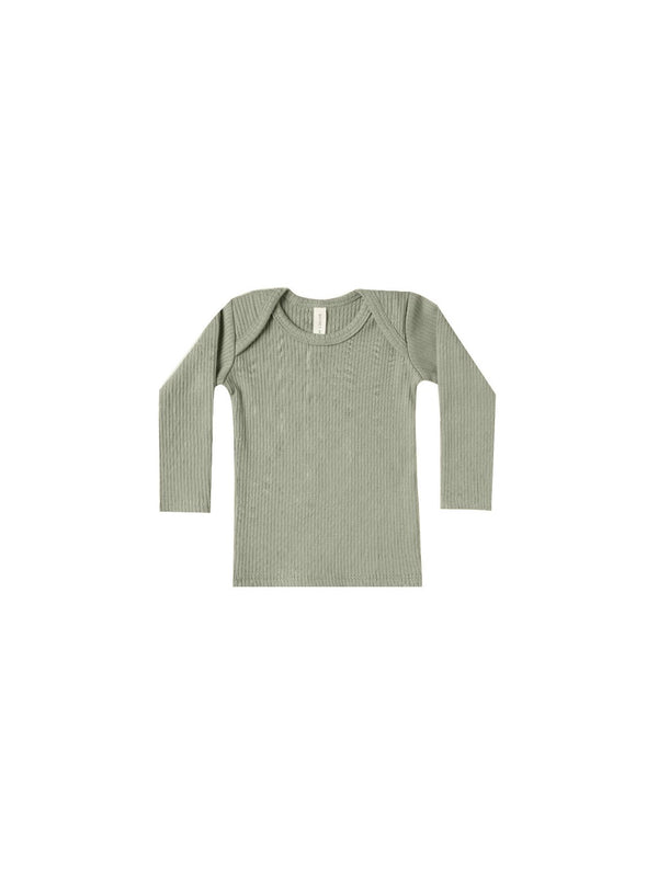 Quincy Mae Ribbed Longsleeve Lap Tee in Moss