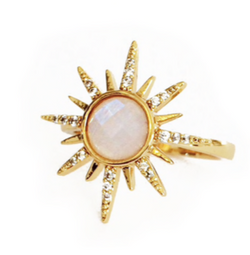 Elizabeth Stone Gemstone Starburst Ring in Moonstone | Sweet Threads