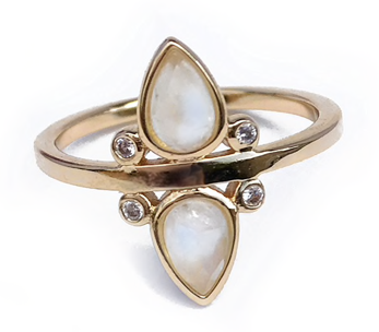 Elizabeth Stone Gemstone Tear Drop Ring in Moonstone | Sweet Threads
