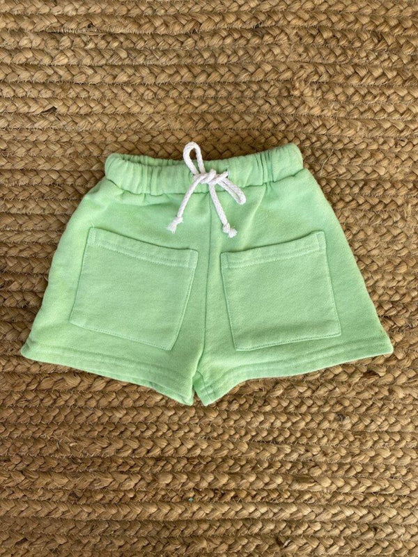 Sun Peony Coconut Byron Bay Unisex Kid Shorts in Avocado