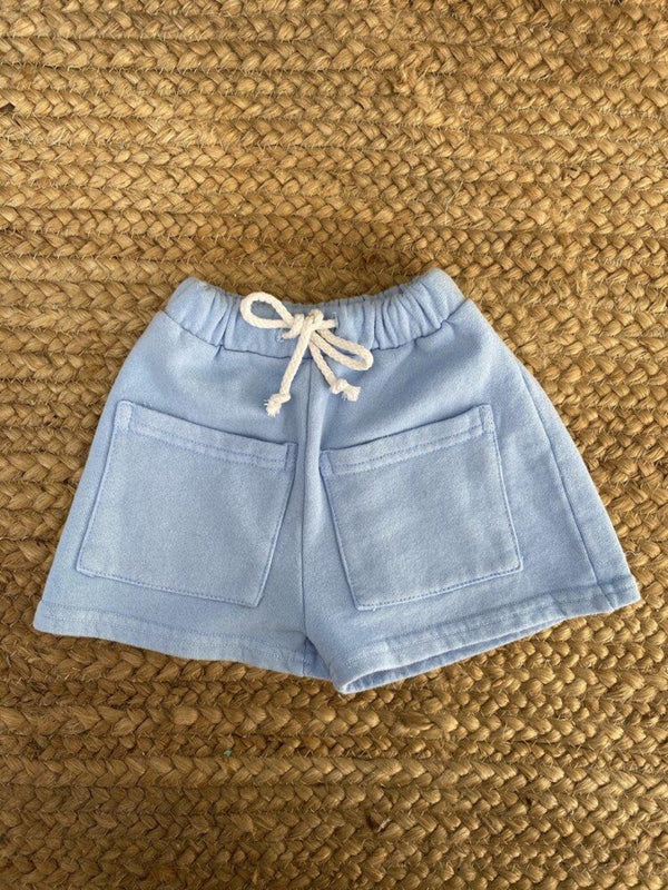 Sun Peony Coconut Byron Bay Unisex Kid Shorts in Dawn Blue