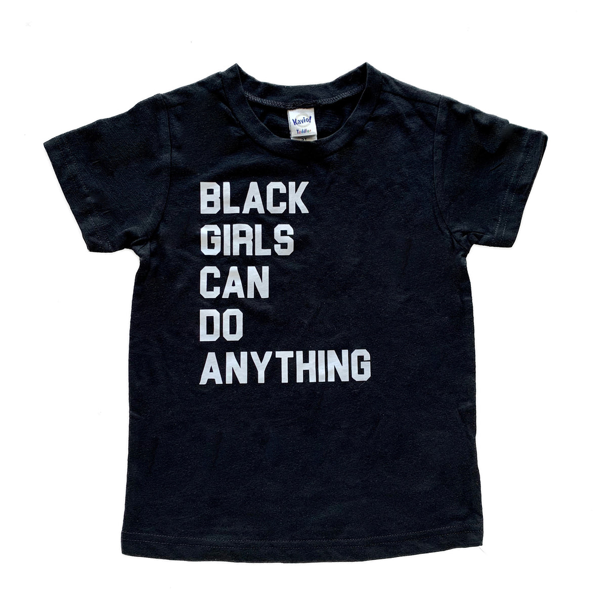 Typical Black Tee Black Girls Can Do Anything Short Sleeve Tee in Black/White