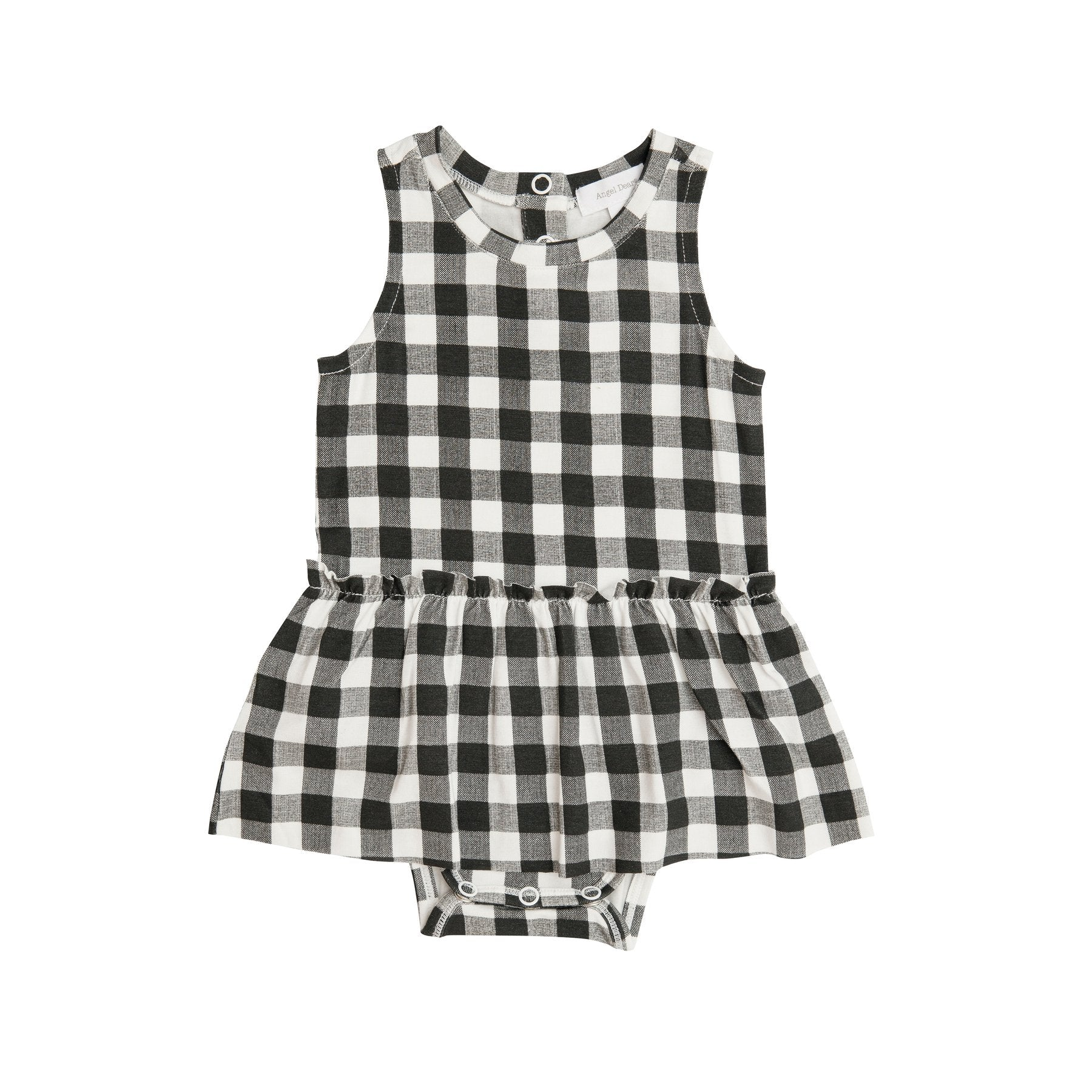 Angel Dear Black Gingham Skirted Onesie
