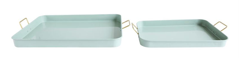Metal Trays with Gold Finish Handles in Sage Green by Bloomingville