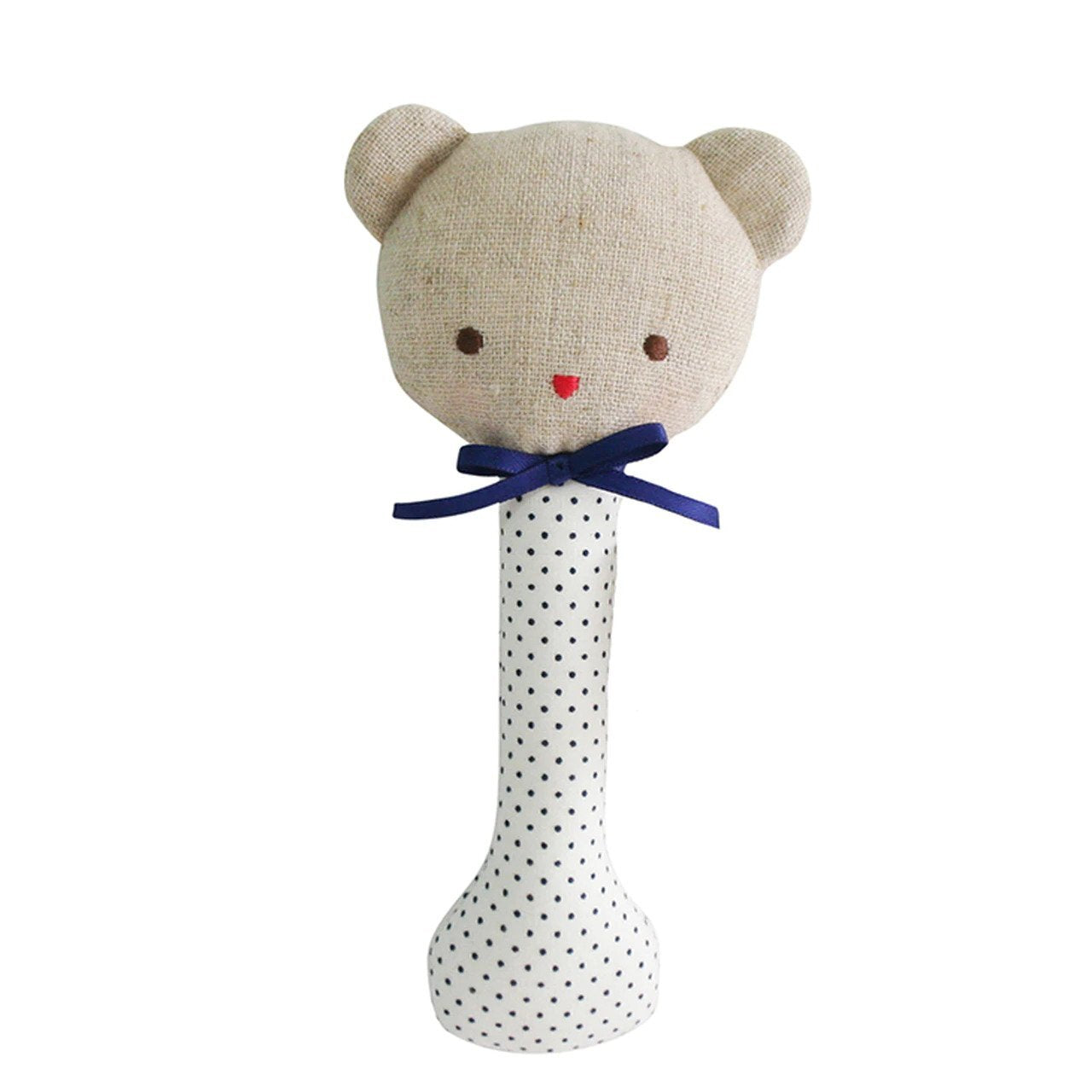 Alimrose Baby Bear Stick Rattle in Navy Spots