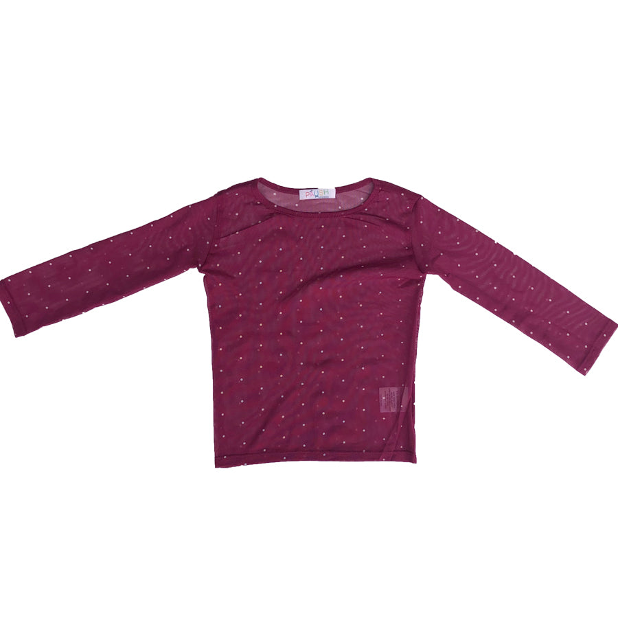 Paush Long Sleeve Mesh Top in Burgundy Polkadot | Sweet Threads