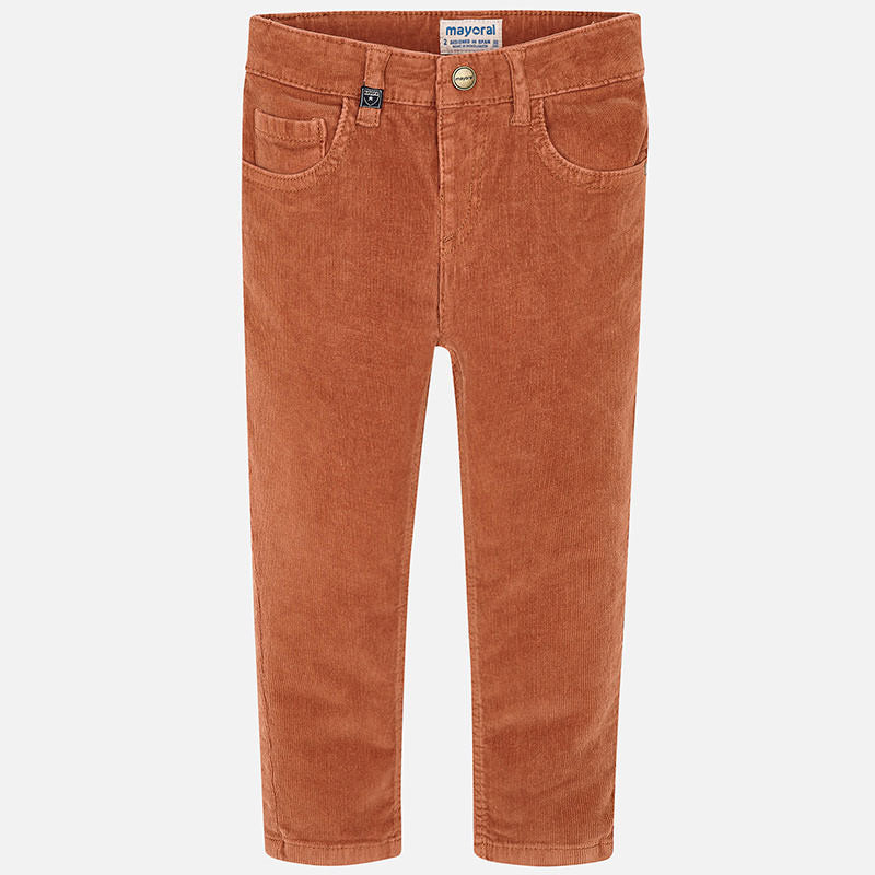 Maroyal Boy Slim Fit Corduroy Trousers in Clay | Sweet Threads