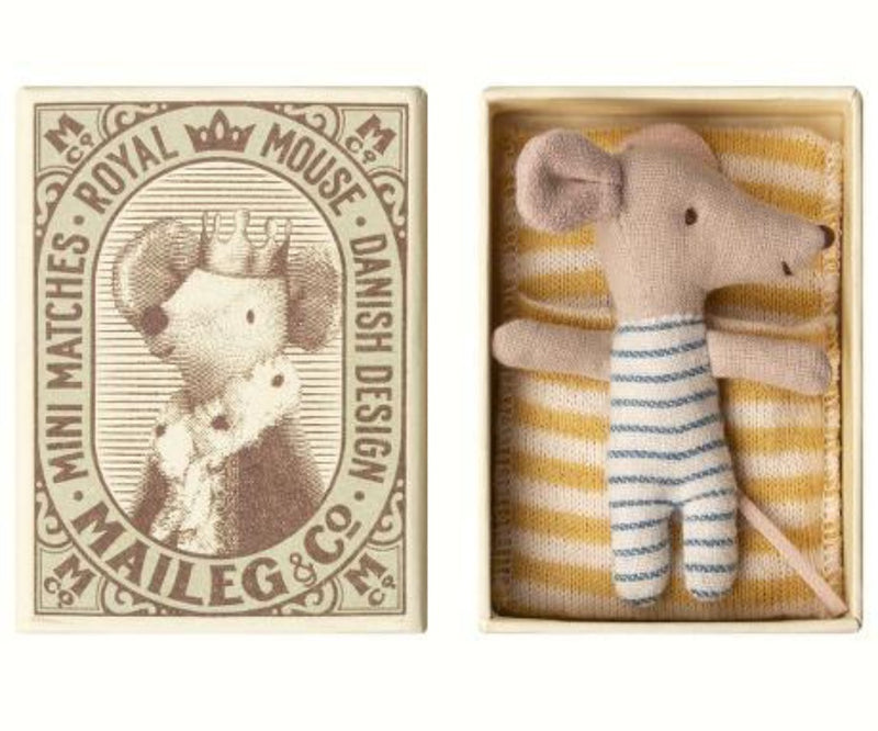 Maileg Sleepy/Wakey Baby Mouse in Box- BOY | Sweet Threads