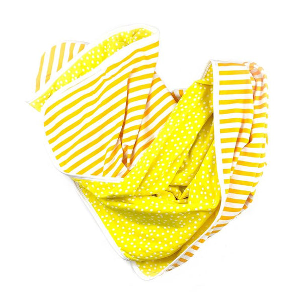 June & January Kiddo Blanket in Lemon Dot + Marigold Stripe