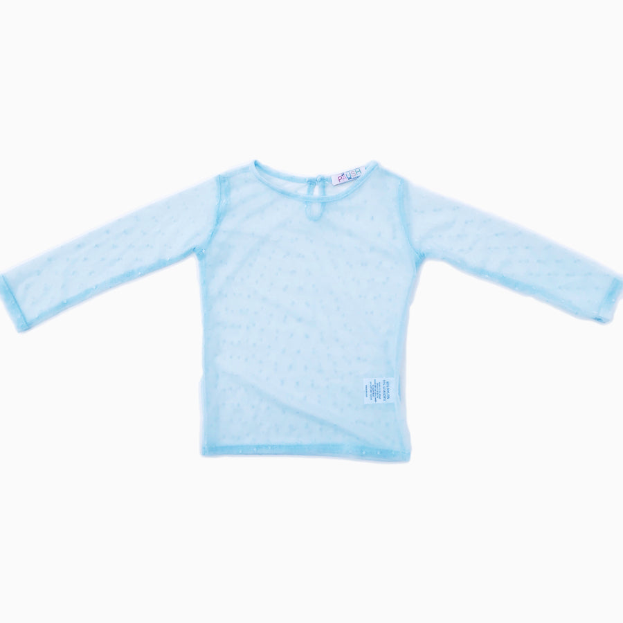 Paush Long Sleeve Mesh tops in Powder Blue | Sweet Threads