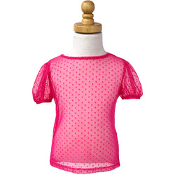 Paush Short Sleeve Mesh Top in Raspberry Polkadot | Sweet Threads