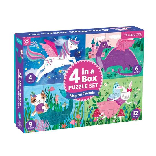 Mudpuppy Magical Friends 4 in a Box Puzzle Set | Sweet Threads