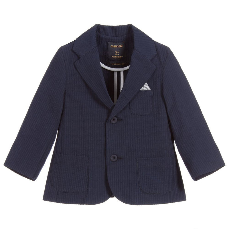Mayoral Boys Seersucker Jacket in Navy | Sweet Threads