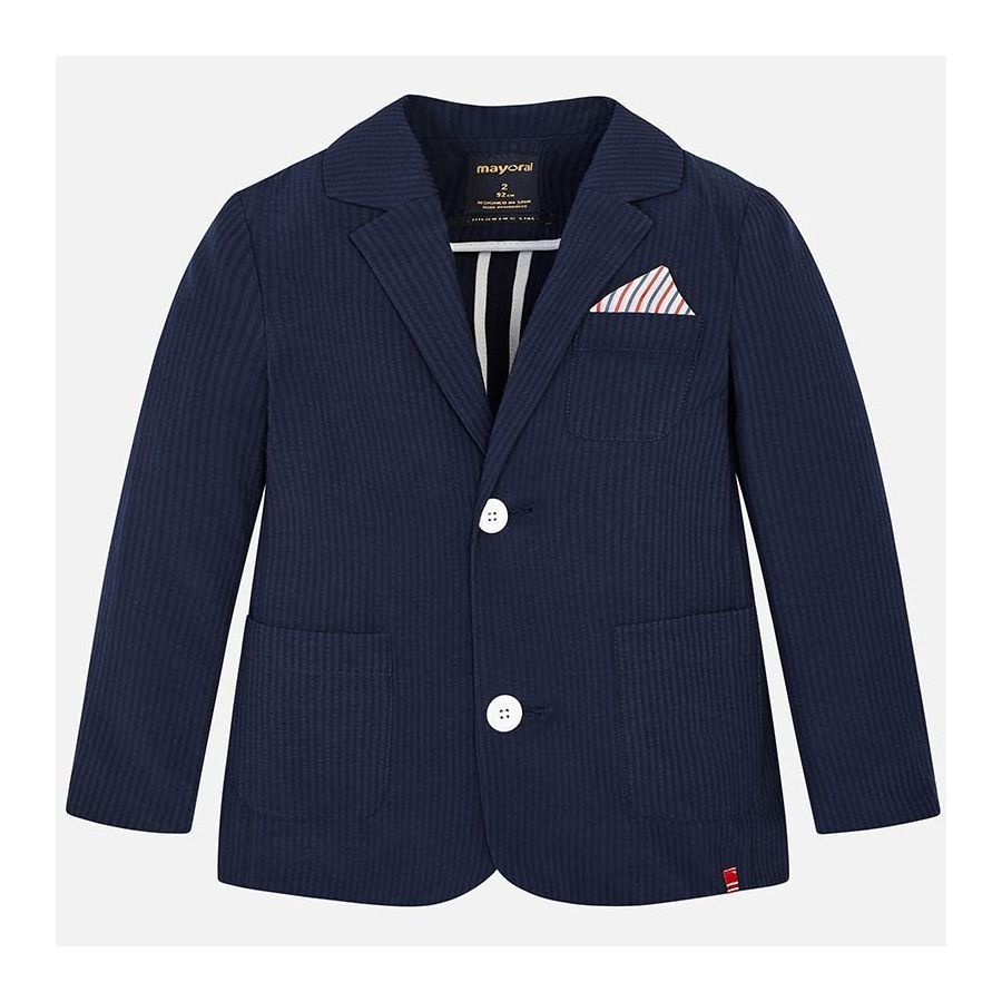 Mayoral Tailored Seersucker Jacket in Navy | Sweet Threads