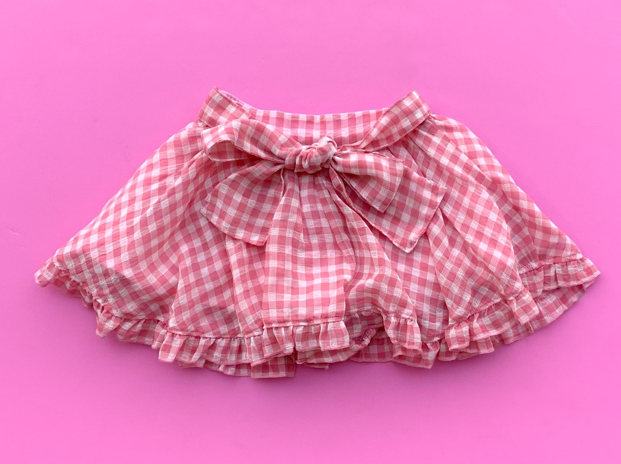 Paush Flouncy Skirt in Pink Gingham