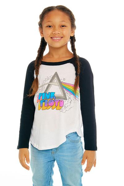 Chaser Pink Floyd Ruffle Rainbow Raglan Tee in White and True Black | Sweet Threads