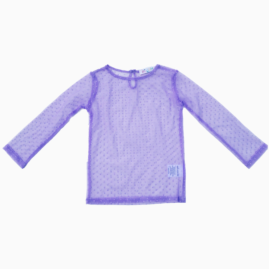 Paush Long Sleeve Mesh tops in Lavender | Sweet Threads