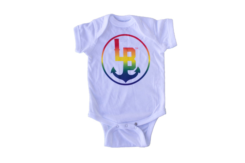 Stay Anchored Rainbow onsie in blue | Sweet Threads