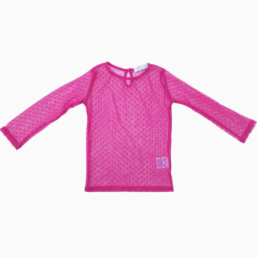 Paush Long Sleeve Mesh Top in Raspberry | Sweet Threads