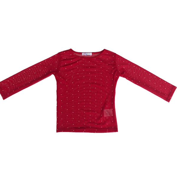 Paush Long Sleeve Mesh Top in Red Polkadot | Sweet Threads