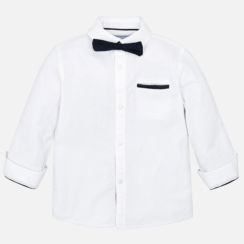 Mayoral Boy Dress Shirt in White with Dotted Bow Tie | Sweet Threads