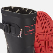 Joules Molly Mid Height Rain Boots Black Dogs/Red Sole