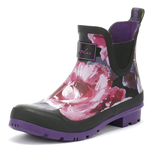 Joules Wellibobs Short Printed Rain Boots Black with Purple Floral