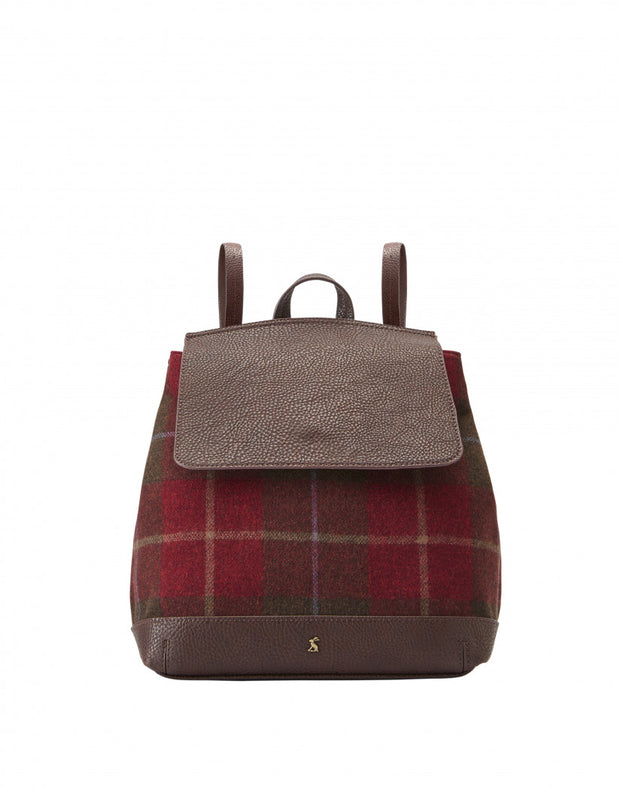 Joules Trippa Tweed Rucksack Red Check