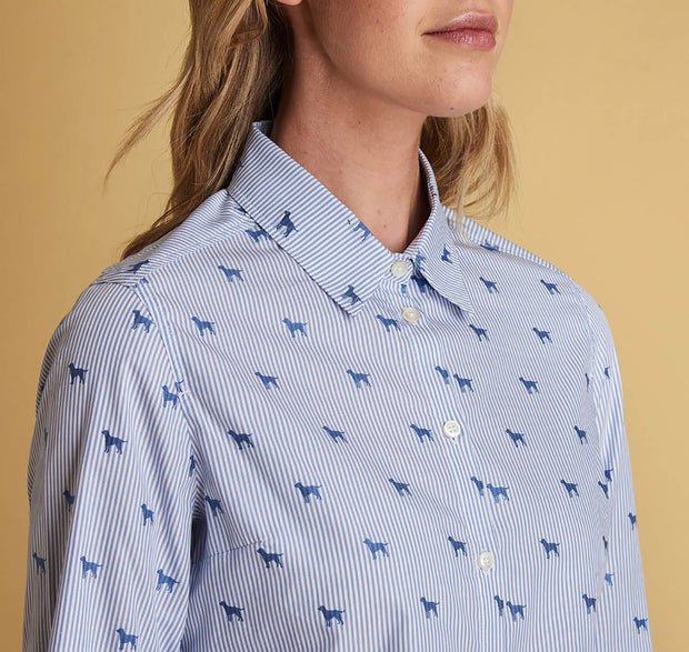 BARBOUR Women's Hampton Shirt - Pale Blue with Dogs - The Painted Trout